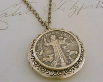 Locket Necklace - Saint Francis Necklace - Vintage Brass jewelry - Woodland Necklace - handmade jewelry