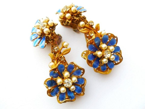 1940s Earrings Amourelle Electric Blue Enamel Pearl Stamped Brass Rhinestone Dangle Clip On Set Frank HESS