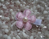 Light Pink Satin with White Polka Dots Flower with Pearl Center Hair Clip - No Slip Grip - Baby - Toddler - Girl - Teen - Adult Hair Clip