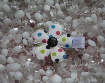 Polka Dot Flower with Black Glitter Center Hair Clip - No Slip Grip - Baby - Toddler - Girl - Teen - Adult Hair Clip
