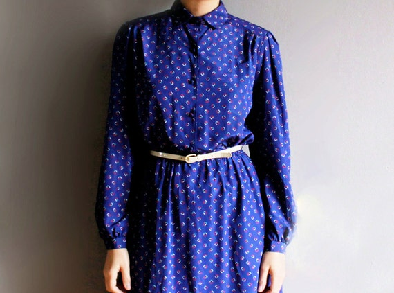 1970's blue geometric dress