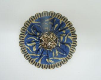 Blue and Gold Metallic Print Yo-Yo Button Pin