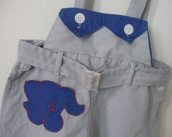 Vintage Baby Short Overalls Romper Shortalls Toddler Togs Puppy face