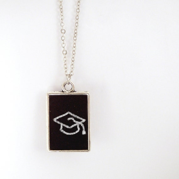 Chalkboard Necklace - Blackboard Pendant with White Chalk and Eraser, Graduation Necklace, Teacher Gift, Nerd Jewelry - 'Scribbles'