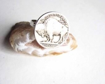buffalo nickel ring - american bison vintage coin ring