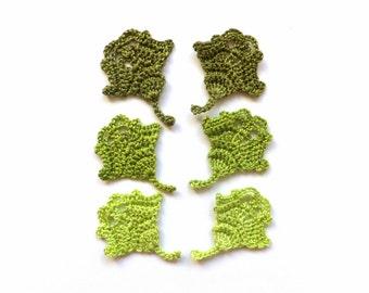Leaves applique - crochet leaves embellishments - woodland decorations - autumn wedding favors - autumn leaves applique - set of 6