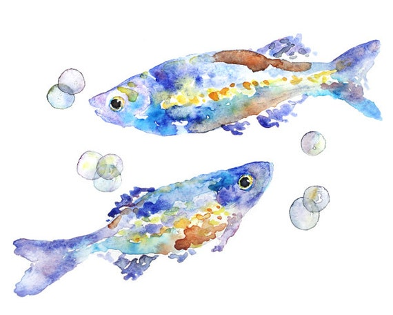 Whimsical Fish Print blue bathroom decor Fish Watercolor