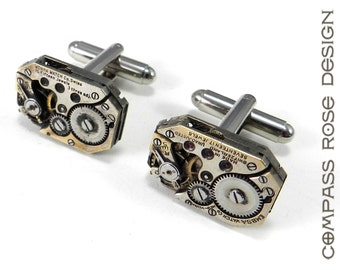 Steampunk Cufflinks Steampunk Cuff Links - SOLDERED Watch Movement Cuff Links - Wedding Anniversary Everyday Awesome - ON SALE