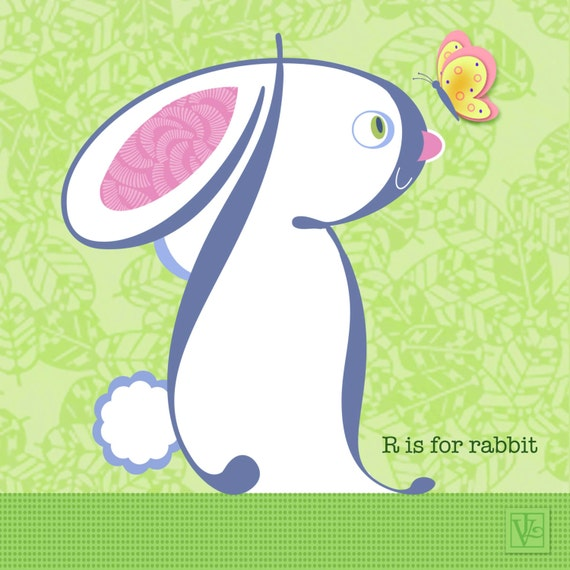 R Is For Rabbit Items similar to White...