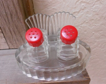 "Red Art Deco Shaker Set ""FAN"" Pressed Glass Glass With Red Celluloid Lids S&P Shakers On Tray Beautiful Antique 3 Piece Set"