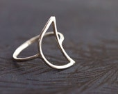 Crescent Moon Wire Ring - Sterling Silver - Made to Order