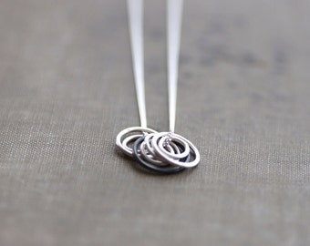 Sterling Necklace with Rings - Black and White Collection