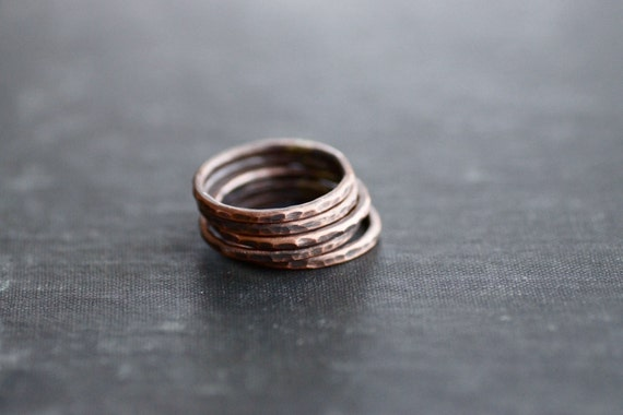 Copper Stacking Rings - Antique Hammered