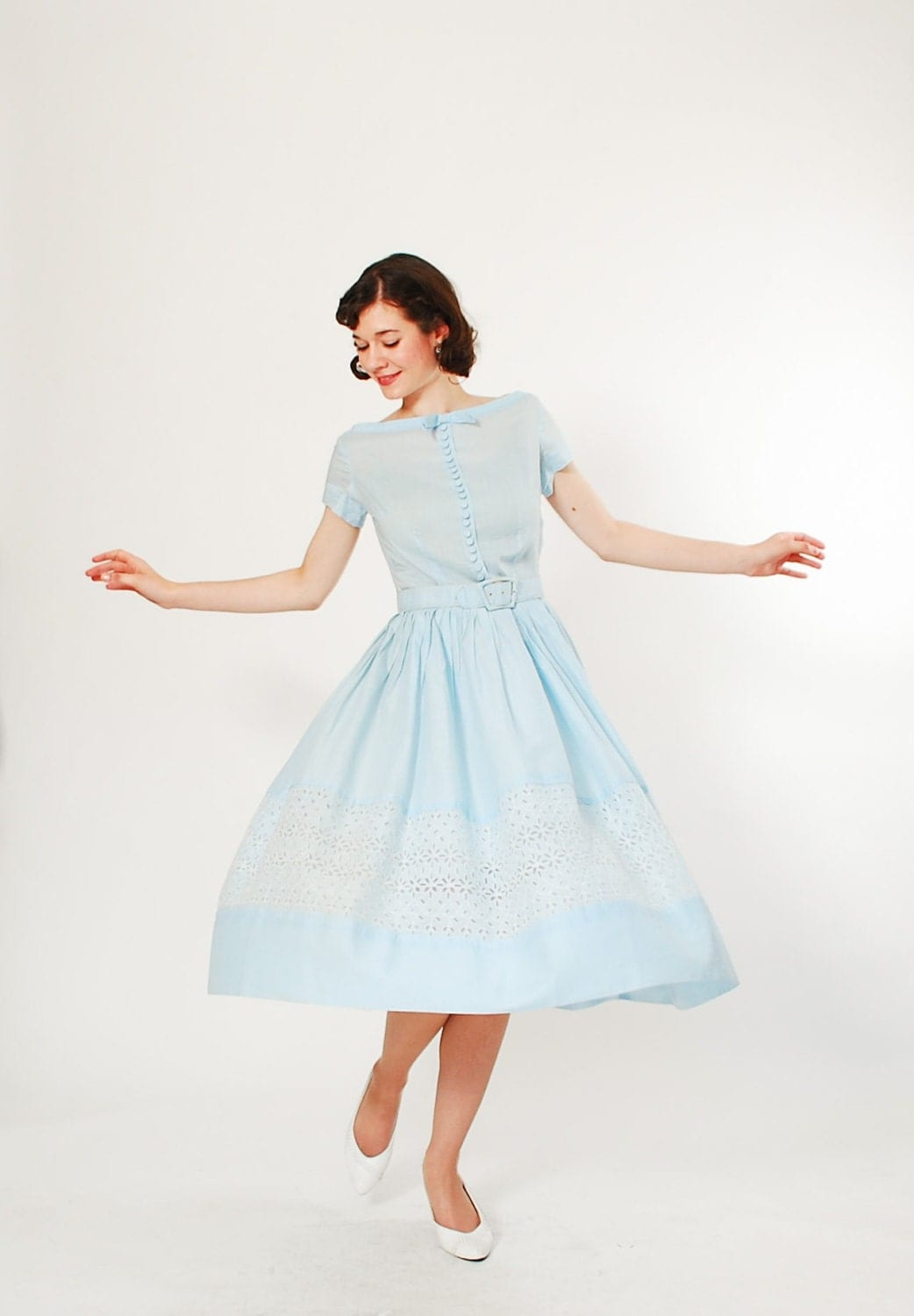 Vintage 1950s Dress 50s Party Dress Up in the Clouds