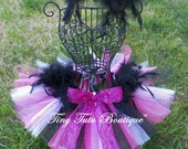 DAZZLING DIVA-hot pink,white,black feathered baby/child tutu with hairpiece: Newborn-5T