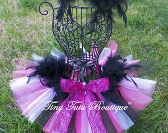 DAZZLING DIVA-hot pink,white,black feathered baby/child tutu with hairpiece: Newborn-5T