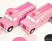 Vintage Fire Truck Favor Box - Pink : DIY Printable Firetruck Gift Box | Fireman Birthday | Rescue | Firefighter - Instant Download