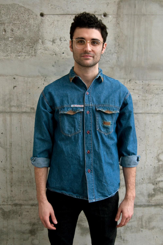 Denim button up shirt vintage jeans shirt men by for Jean button up shirt mens