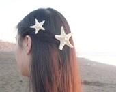 White Starfish Hair Clips Mermaid Barrettes Sea Stars Nautical Ariel Costume Ocean Beachy Beach Wedding Accessories Womens Gift For Her