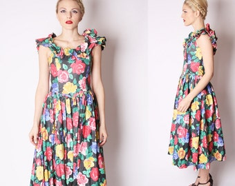 Tropical Rose Floral Cotton Prom Party Dress / 80s Floral Cotton Dress / Tapestry Rose  / 1967