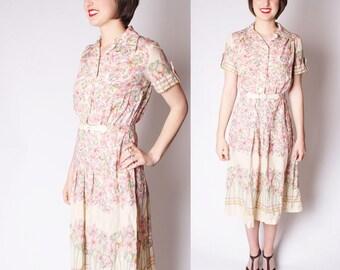 70s Floral Pastel Dress / 1970s Dresses / Pastel Floral Dresses / 70s Dresses / Vintage Floral / 2291