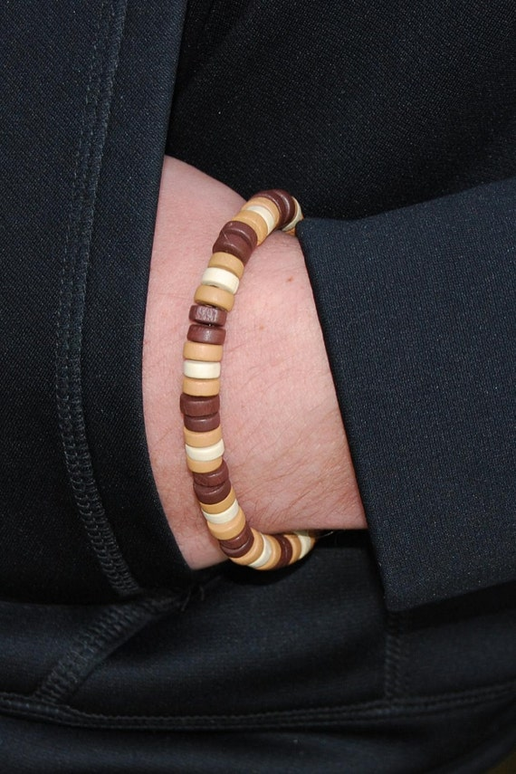 8.25 Inch Handcrafted Unisex Stretch Bracelet - Wood - SGArtCA - Tribal Chic Jewelry
