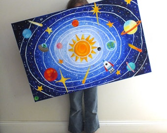 Custom Children's Art, SOLAR SYSTEM, 36x24 acrylic, personalized space painting for kids rooms or nursery decor