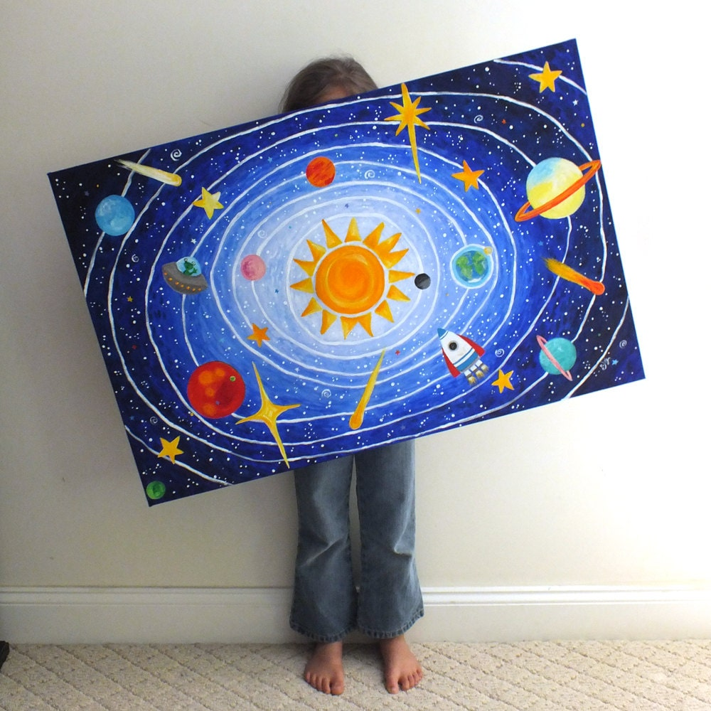 Childrens Wall Art Solar System No 5 36x24 Acrylic Space
