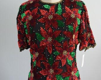 Nwt Vintage holiday Silk SEQUIN BEADED POINSETTIA Scala Women m
