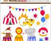 Circus Carnival Animal Clipart - INSTANT DOWNLOAD - Digital Clip Art - WA321C1a