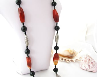 Gemstone Necklace - Onyx and Banded Agate