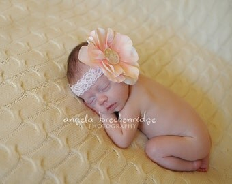 pink headband, baby headband, Newborn Headband, Off White Flower Headband,