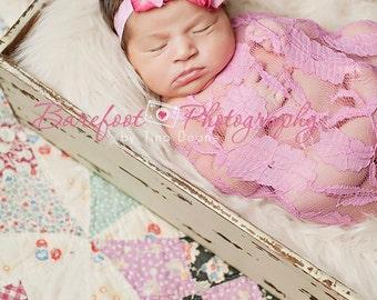 pink baby headband, newborn headband, pink flower headband