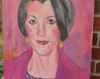 Vintage Oil Portrait WOMAN DISCO Purple Vamp 1980's RETRO chic