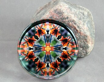 Butterfly Glass Paperweight Boho Chic Mandala New Age Sacred Geometry Hippie Kaleidoscope Mod Unique Boss Gift Teacher Gift Gaea's Rhapsody