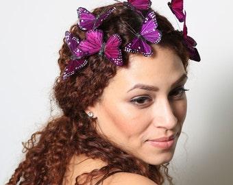 Dark Purple Butterfly Crown - wedding, bride, fantasy, woodland, fairy tale
