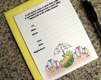 turtle baby shower lined custom invitations for either boy or girl with colored envelopes DIY - set of 10