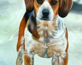 Dog portrait painting from photo, large oil on canvas. 100% money-back guarantee