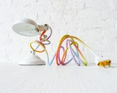 Vintage Industrial Lamp Lighting - White Sconce Clip Clamp Light w/ Pastel Ombre Rainbow Color Cord - EarthSeaWarrior