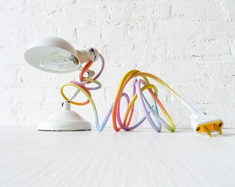 Vintage Industrial Lamp Lighting - White Sconce Clip Clamp Light w/ Pastel Ombre Rainbow Color Cord OOAK