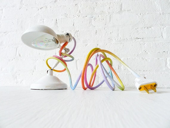 Vintage Industrial Lamp Lighting - White Sconce Clip Clamp Light w/ Pastel Ombre Rainbow Color Cord