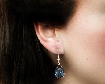 Navy blue earrings for bridesmaids, Swarovski crystal - 'Aida'