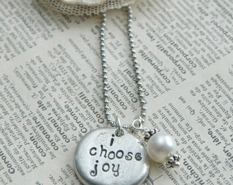 Pebble Necklace - Hand Stamped  - I Choose Joy With Pearl Accent By Inspired Jewelry Designs