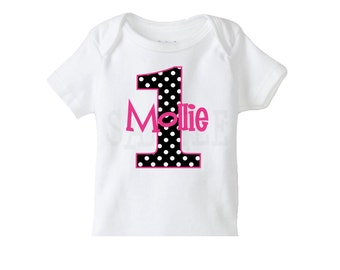 Pink and Black Polka Dot Number Birthday  TShirt or Bodysuit