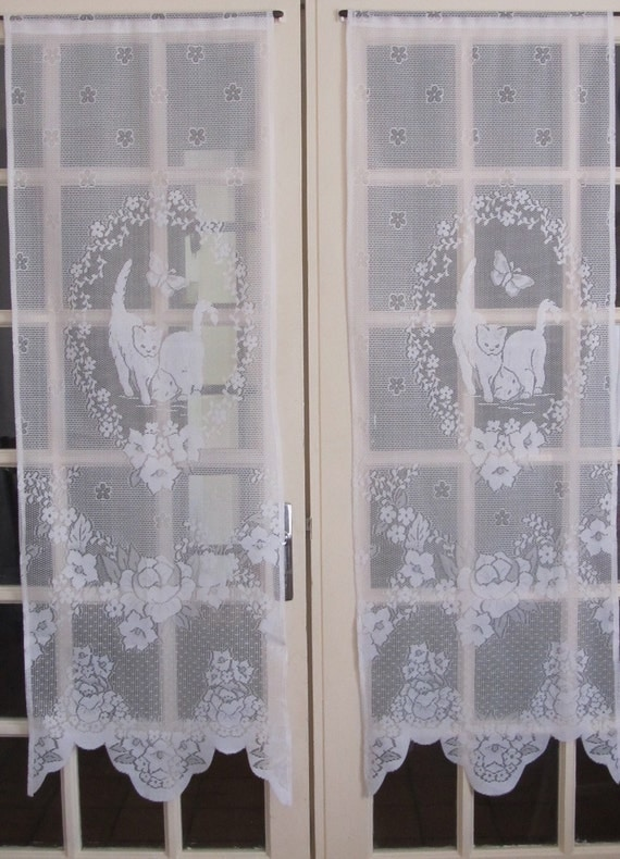 White French Door Curtains White Lace Curtains Cats