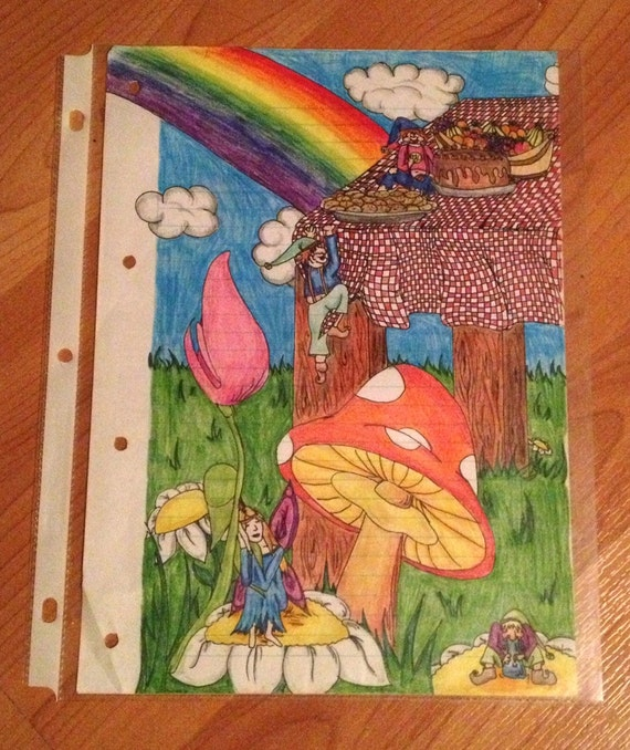 Trippy drawing 50 off colored pencils on notebook by for Fairy on a mushroom drawing