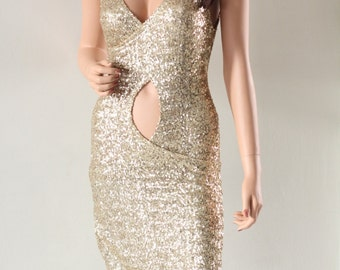 Party Dress Sequin Gold Summer Dress CHRISST