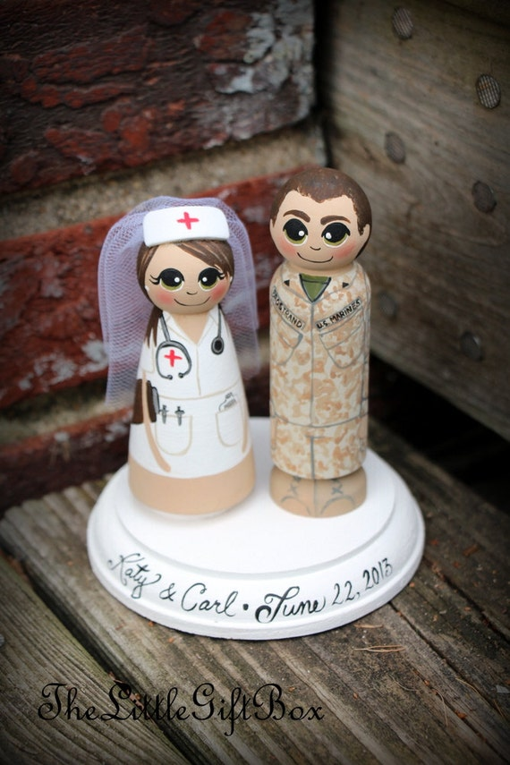 Marine Cake Toppers For Wedding Cakes Wedding Cake Topper / Wood Peg