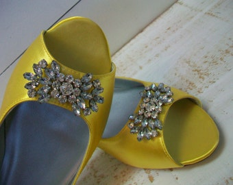 Wedding Shoes - Peep Toe Flats - 1/2 Inch Heel - Yellow - Dyeable Choose From Over 100 Colors - Wide Sizes Available - Custom Color Shoes
