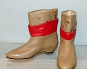 vintage 80s ankle boots size 6.5 nude and red leather